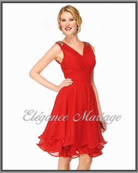 Robe ceremonie rouge courte